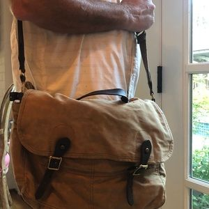 J Crew Abington Canvas and Leather messenger bag
